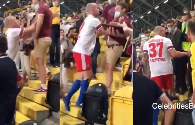 German top soccer star leaves interview to fight fan in stands after he got insulted   Watch Video 10